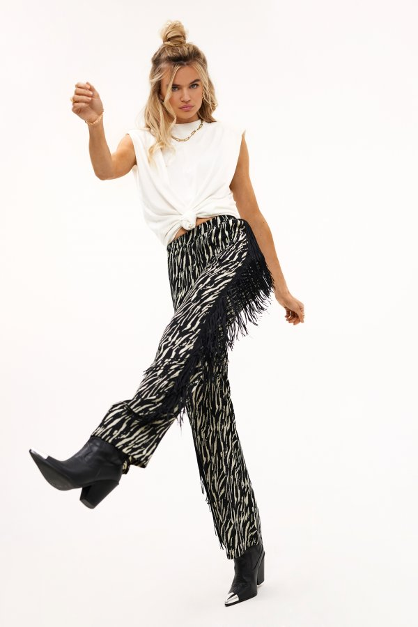 Loavies black zepra print flared trousers