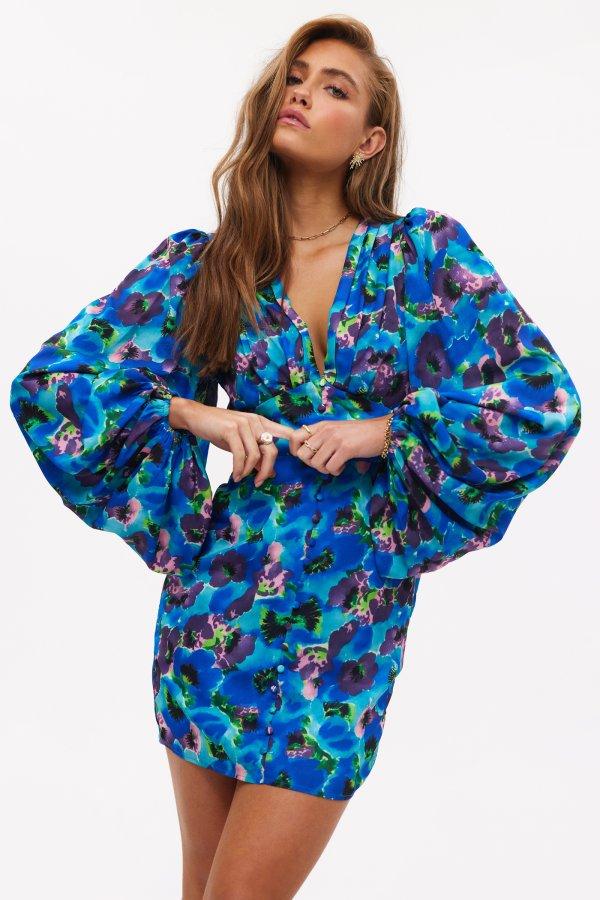 Have this hope Loavies robe moulante bleu à imprimé fleuri